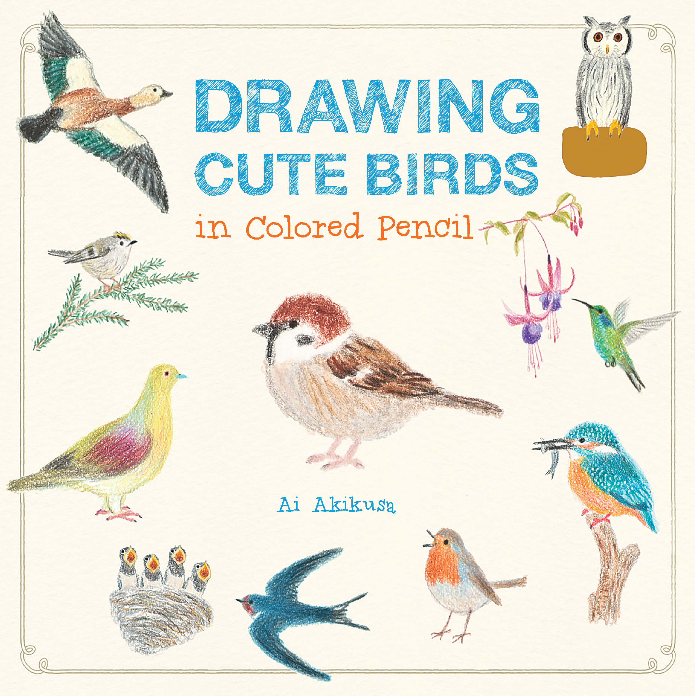 how to draw cute birds book