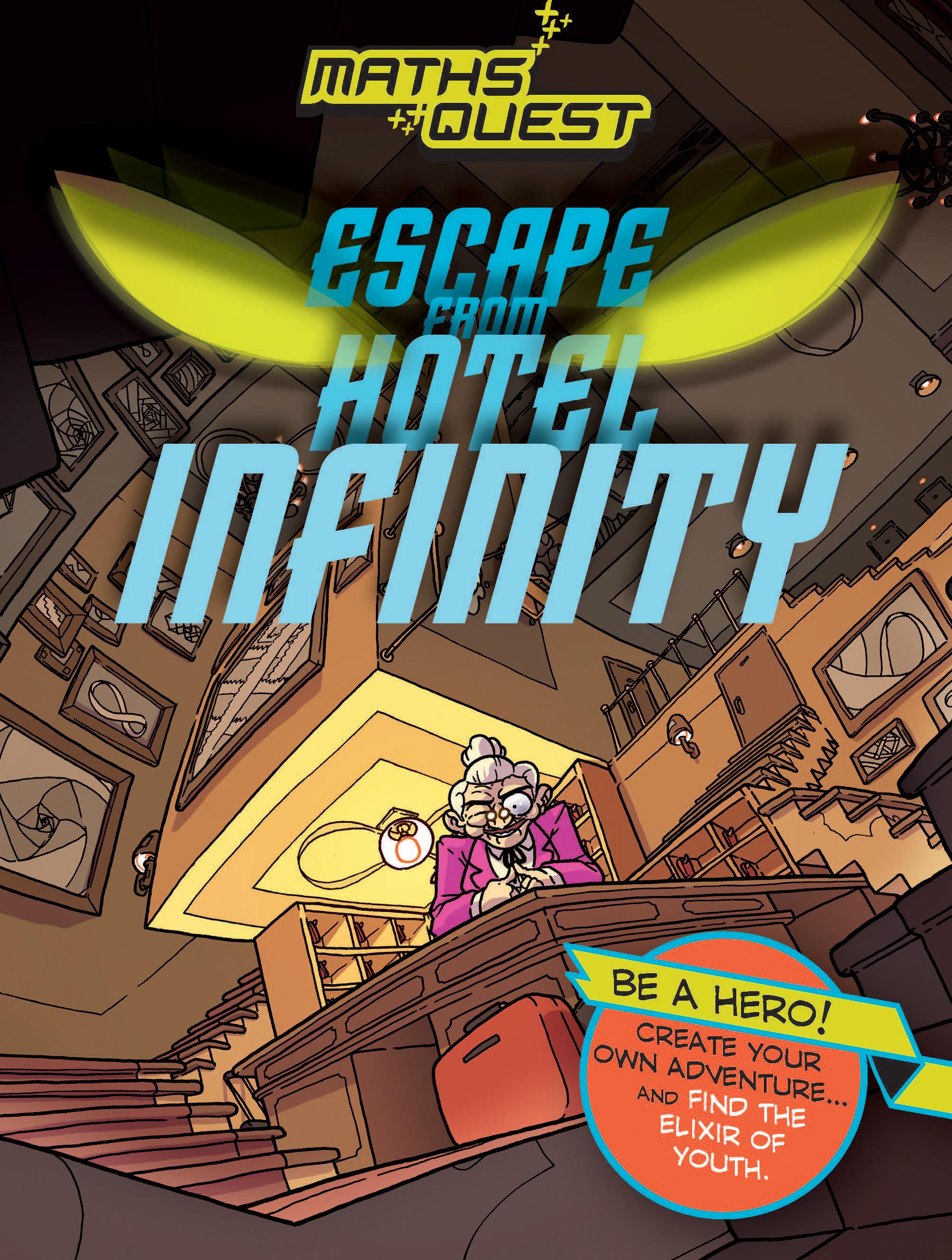 Illustrated Book Cover Quest : Escape from hotel infinity maths quest kjartan poskitt